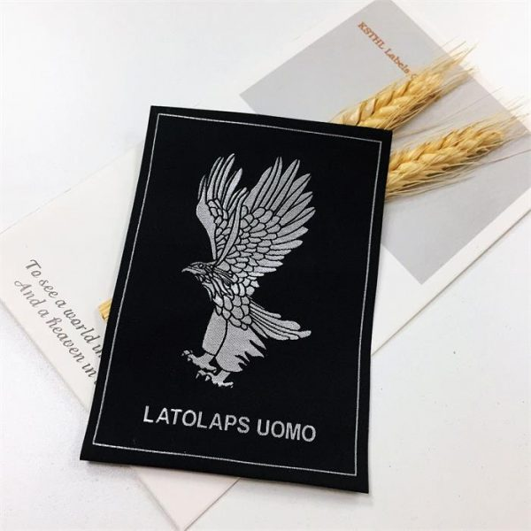 Custom famous brand name logo machine woven damask durable labels for clothing
