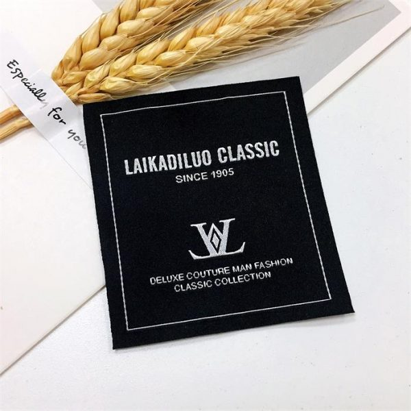 High definition luxury satin silk garment damask woven main label for clothing